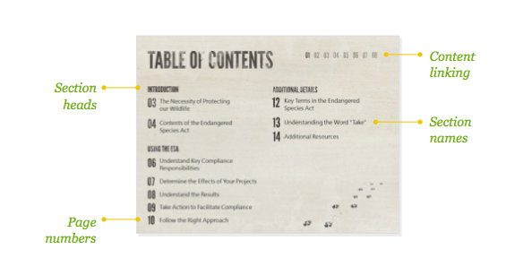 table of contents for presentation