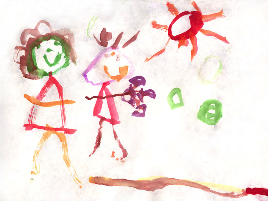 a young child's painting as inspiration for a story