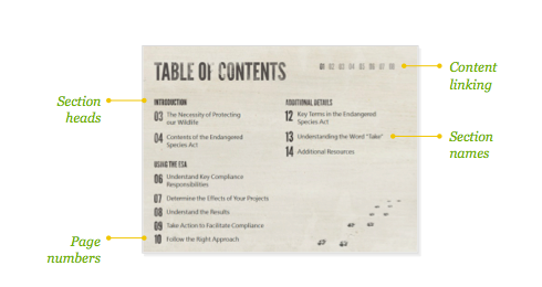 the structure of a table of contents