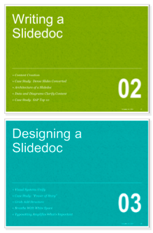 distinct layout of different types of pages within presentation