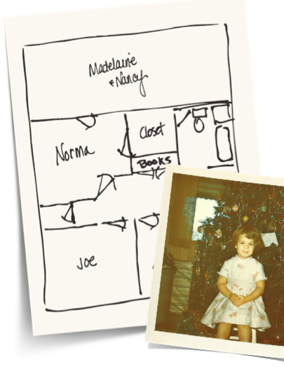 photo of little girl and floorplan of house