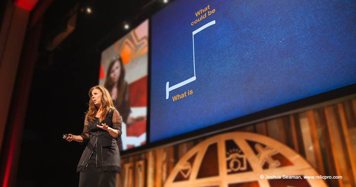 Nancy Duarte using storytelling skills to move the audience